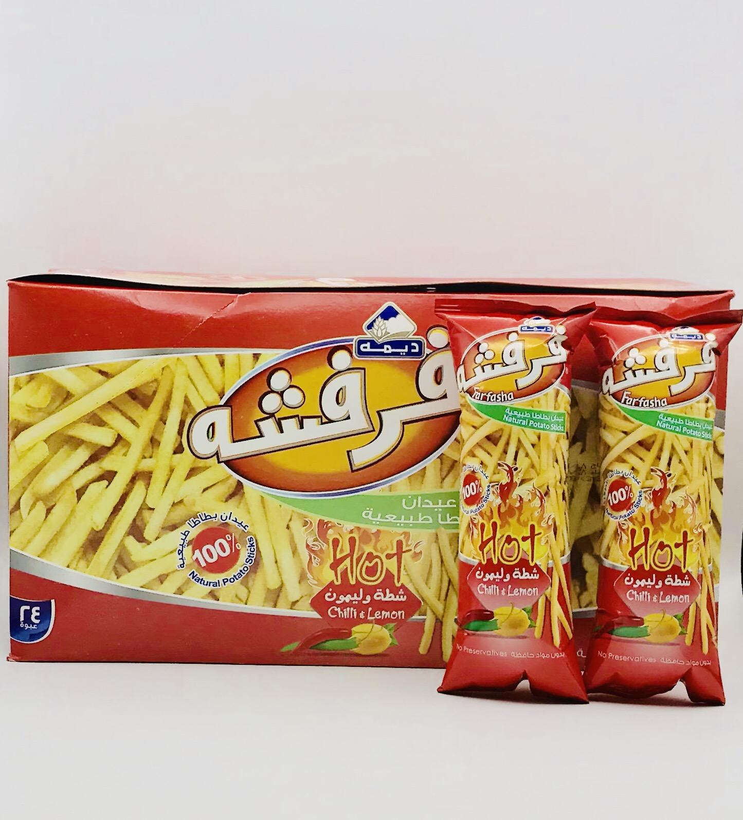 عيدان بطاطس فرفشه ديمة شطة وليمون 6 24 متجر سارونا